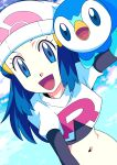 1girl :d beanie black_gloves blue_eyes blue_hair clouds commentary_request cosplay dawn_(pokemon) day elbow_gloves eyelashes gloves hainchu hair_ornament hairclip hat highres jacket jessie_(pokemon) jessie_(pokemon)_(cosplay) long_hair looking_at_viewer navel open_mouth outdoors piplup pokemon pokemon_(anime) pokemon_(creature) pokemon_dppt_(anime) sky smile team_rocket team_rocket_uniform tongue white_headwear white_jacket
