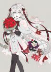 1boy 1girl :d ahoge black_legwear bouquet character_doll ebanoniwa fate/grand_order fate_(series) flower gilles_de_rais_(caster)_(fate) grey_background grey_eyes grey_hair headpiece highres holding holding_bouquet jeanne_d'arc_(fate) jeanne_d'arc_alter_santa_lily_(fate) looking_at_viewer merry_christmas open_mouth red_flower simple_background smile standing thigh-highs