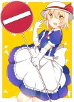 1girl apron back_bow blonde_hair blue_dress blush bow clouds dress eyebrows_visible_through_hair frilled_apron frills gloves grass happy hat hat_bow highres holding holding_sign kana_anaberal looking_at_viewer puffy_short_sleeves puffy_sleeves road_sign short_sleeves sign touhou touhou_(pc-98) waist_apron white_apron zeroko-san_(nuclear_f)