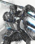 1boy armor blue_theme breastplate commentary crown_of_thorns dark_souls_(series) dark_souls_ii english_commentary faulds gauntlets greaves highres holding holding_shield holding_sword holding_weapon looking_glass_knight male_focus mask pauldrons shield shimhaq shoulder_armor solo standing sword weapon