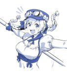 1girl breasts gloves goggles goggles_on_headwear hat highres long_hair looking_at_viewer midriff monochrome navel open_mouth seigetsu_kotaku simple_background smile solo star_ocean star_ocean_anamnesis twintails welch_vineyard white_background