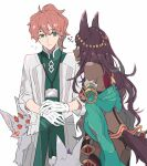 1boy 1girl animal_ears ass character_request closed_mouth dark-skinned_female dark_skin ebanoniwa eye_contact fate/grand_order fate_(series) flying_sweatdrops fou_(fate) from_side gloves green_eyes id_card labcoat lanyard long_hair long_sleeves looking_at_another ponytail purple_hair queen_of_sheba_(fate) romani_archaman simple_background tail white_background white_gloves wide-eyed