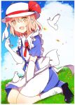 1girl apron back_bow bird bird_on_hand black_footwear blonde_hair blue_dress blush bow clouds cloudy_sky dress elbow_gloves gloves grass happy hat hat_bow kana_anaberal open_mouth outdoors puffy_short_sleeves puffy_sleeves red_bow short_hair short_sleeves sky touhou touhou_(pc-98) waist_apron white_apron white_bird white_bow white_headwear white_legwear yellow_eyes zeroko-san_(nuclear_f)