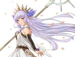 1girl arm_warmers bare_shoulders blue_eyes breasts character_request dress granblue_fantasy headpiece holding holding_staff kakikuyeko3181 long_hair looking_at_viewer pointy_ears silver_hair small_breasts smile staff white_background