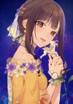1girl :d bangs bare_shoulders blue_sky brown_dress brown_eyes brown_hair chisumi commentary_request dress eyebrows_visible_through_hair flower hands_up highres holding holding_flower idolmaster idolmaster_cinderella_girls long_hair looking_at_viewer looking_to_the_side mizumoto_yukari night night_sky off-shoulder_dress off_shoulder open_mouth own_hands_together sky smile solo star_(sky) starry_sky wrist_cuffs