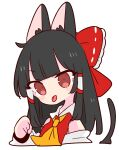 1girl animal_ears ascot black_hair bow cat_ears cat_tail collar detached_sleeves hair_bow hair_tubes hakurei_reimu highres long_hair nontraditional_miko op_na_yarou paw_pose red_bow red_eyes red_shirt ribbon_trim shirt sidelocks simple_background sleeveless solo tail touhou upper_body white_background white_collar yellow_neckwear