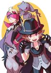2boys :d absurdres animal_hands banette bangs black_gloves black_headwear blonde_hair buttons cape closed_mouth commentary_request eyelashes gloves grey_shirt hand_on_hip hands_up hat headband highres hilbert_(pokemon) jewelry long_sleeves male_focus meiji_(meijihoney) mightyena morty_(pokemon) multiple_boys necklace official_alternate_costume open_mouth pants paw_gloves pokemon pokemon_(creature) pokemon_(game) pokemon_masters_ex shirt short_hair short_sleeves smile teeth tongue upper_teeth vest white_neckwear