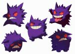 bluekomadori commentary english_commentary frown gengar looking_at_viewer looking_down multiple_views no_humans one_eye_closed open_mouth pokemon pokemon_(creature) smile teeth tongue tongue_out