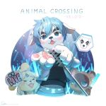 >_< 1girl 2boys animal_crossing animal_hands blue_eyes blue_hair cheering dog fangs furry gloves glowstick hand_fan headband heart heart_in_mouth holding holding_microphone isabelle_(animal_crossing) k.k._slider_(animal_crossing) microphone microphone_stand multiple_boys music open_mouth paper_fan paw_gloves ryota_(ry_o_ta) singing tanuki tearing_up tom_nook_(animal_crossing) uchiwa vest vintage_microphone white_gloves