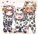 3girls :d =_= animal_costume animal_print barefoot blonde_hair breasts closed_eyes cow_costume cow_print double_v ear_tag facing_viewer highres hololive houshou_marine large_breasts leaning_forward long_sleeves mikan_(chipstar182) multiple_girls o3o open_mouth pajamas redhead shiranui_flare shirogane_noel smile soles v