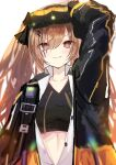 1girl absurdres adjusting_goggles arm_up brown_eyes brown_hair commentary_request fingerless_gloves girls_frontline gloves goggles goggles_on_head hair_between_eyes hair_ornament hairclip heads-up_display highres jacket kamiya_mitobe looking_at_viewer midriff_peek mod3_(girls'_frontline) open_clothes open_jacket open_shirt scar scar_across_eye shirt smile solo sports_bra ump9_(girls'_frontline) upper_body v-neck white_background white_shirt