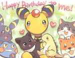 ampharos blue_eyes blush cat commentary_request croagunk dog hand_up happy_birthday heart holding looking_at_viewer no_humans notice_lines pokemon pokemon_(creature) signature sparkle tansho teeth umbreon