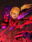 1girl 33dot absurdres angry arm_cannon aura blonde_hair glowing glowing_eyes glowing_hand gravity_suit highres metroid metroid_dread metroid_suit open_mouth ponytail red_eyes red_lightning samus_aran solo spoilers transforming_clothes upper_body veins weapon