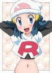 1girl :d arms_behind_head beanie blue_eyes blue_hair blush border commentary_request cosplay dawn_(pokemon) elbow_gloves eyelashes gloves hainchu hair_ornament hairclip hat highres jacket jessie_(pokemon) jessie_(pokemon)_(cosplay) long_hair looking_at_viewer navel open_mouth pokemon pokemon_(anime) pokemon_dppt_(anime) shiny shiny_skin sidelocks smile solo team_rocket team_rocket_uniform tongue upper_body white_border white_headwear white_jacket