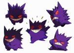 bluekomadori chin_stroking commentary english_commentary frown gengar looking_at_viewer multiple_views no_humans own_hands_together pokemon pokemon_(creature) sitting smile teeth thinking