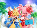 1boy 1girl ;d alternate_costume alternate_hairstyle amy_rose animal_ears animal_nose bare_shoulders bikini bikini_skirt blonde_hair blue_ribbon blue_sky blush bracelet breasts clouds cloudy_sky commentary_request day fang flower fox_boy fox_ears fox_tail frilled_bikini frills furry furry_female furry_male green_eyes hair_flower hair_ornament hairband hand_up happy heart hibiscus holding innertube jewelry lens_flare looking_at_phone looking_at_viewer medium_breasts midriff misuta710 multiple_tails navel one_eye_closed open_mouth outdoors palm_tree phone pink_hair red_flower red_hairband ribbon selfie shiny short_hair skirt sky sleeveless smile sonic_(series) sonic_cd sonic_the_hedgehog_2 standing standing_on_one_leg sun sunlight sweatdrop swimsuit tail tails_(sonic) tied_hair tongue tree