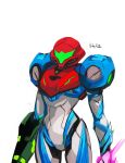 1girl 33dot absurdres arm_cannon armor glowing gun helmet highres looking_at_viewer metroid metroid_dread power_armor power_suit samus_aran science_fiction sidelocks simple_background solo upper_body weapon