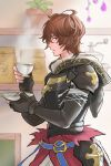 1boy armor bag black_gloves coffee_grinder cup fingerless_gloves gloves granblue_fantasy hair_between_eyes highres holding holding_cup holding_plate indoors kakikuyeko3181 plant plate potted_plant profile red_eyes sandalphon_(granblue_fantasy) solo steam teacup