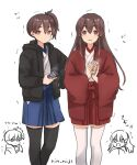 akagi_(kancolle) artist_name black_jacket black_legwear brown_eyes brown_hair can canned_coffee commentary_request hakama hakama_short_skirt hakama_skirt jacket japanese_clothes kaga_(kancolle) kantai_collection long_hair red_jacket rin_(rin_niji) side_ponytail simple_background skirt straight_hair thigh-highs translation_request trembling white_background white_legwear