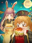 2girls apron artist_name bangs black_shirt black_sleeves blonde_hair burger chinese_clothes collared_shirt commentary_request confetti eating food full_moon gold_trim highres junko_(touhou) long_hair long_sleeves moon multiple_girls plate purple_hair red_eyes reisen_udongein_inaba ribbon shirt sky sleeves_rolled_up sparkle sparkling_eyes standing star_(sky) starry_sky tabard tassel touhou v-shaped_eyebrows wide_sleeves wing_collar xmj6teuc yellow_neckwear yellow_ribbon