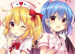 2girls :d alternate_costume bangs bat_wings blonde_hair blush bow commentary_request cross crystal eyebrows_visible_through_hair fang fingernails flandre_scarlet glove_bow gloves hair_bow hat looking_at_viewer multiple_girls nurse nurse_cap one_eye_closed open_mouth pen petals red_bow red_eyes remilia_scarlet ruhika short_hair short_sleeves siblings side_ponytail sisters smile sparkle standing tongue tongue_out touhou upper_body white_gloves wing_collar wings wrist_cuffs