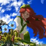 1girl bangs beret black_bow black_ribbon blue_flower blue_sky bow braid closed_mouth clouds commentary_request day floating_hair flower flower_request green_pants green_vest hair_bow hair_ribbon hat hat_ornament highres hong_meiling kajatony leaning_forward light_blush light_smile long_hair looking_to_the_side meandros orange_eyes outdoors pants parted_bangs puffy_short_sleeves puffy_sleeves redhead ribbon rock shadow shirt short_sleeves side_braid sitting sky solo star_(symbol) touhou twin_braids vest white_shirt