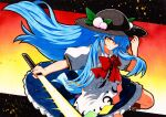 1girl apron blouse blue_bow blue_hair blue_skirt bow bowtie buttons dress_shirt food frills fruit hat hinanawi_tenshi long_hair neck_ribbon peach puffy_short_sleeves puffy_sleeves qqqrinkappp rainbow_order red_bow red_eyes ribbon shirt short_sleeves skirt solo sword_of_hisou touhou traditional_media white_blouse white_shirt wing_collar