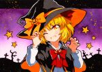 1girl bangs black_border black_cloak black_headwear blonde_hair blush border bow buttons cloak eyebrows_visible_through_hair gem gradient gradient_eyes gradient_sky hair_between_eyes hands_up hat hat_bow jewelry long_sleeves looking_at_viewer multicolored multicolored_eyes one_eye_closed open_mouth orange_bow pink_sky puffy_long_sleeves puffy_sleeves purple_sky qqqrinkappp red_bow red_eyes red_ribbon ribbon rumia shirt short_hair sky smile solo star_(symbol) touhou traditional_media upper_body white_shirt white_sky white_sleeves witch_hat yellow_ribbon