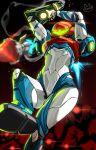 1girl arm_cannon armor e.m.m.i._(metroid) enmanuelart20 glowing gun helmet looking_at_viewer metroid metroid_dread power_armor power_suit samus_aran science_fiction sidelocks simple_background solo upper_body visor weapon