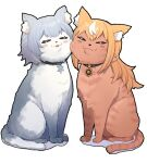 :3 :p animal_focus animalization blonde_hair cat cheek-to-cheek closed_eyes collar heads_together highres hololive long_hair mikan_(chipstar182) no_humans shiranui_flare shirogane_noel simple_background smile tongue tongue_out white_background