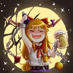 1girl absurdres alcohol arm_up artist_name bangs beer belt black_background black_belt black_sky blonde_hair blush bottle bow bowtie buttons chain closed_eyes collar collared_shirt eyebrows_visible_through_hair fang glass hair_bow hands_up highres horns ibuki_suika long_hair moon night night_sky oni open_mouth purple_ribbon purple_skirt red_bow red_neckwear ribbon shadow shirt skin_fang skirt sky sleep_(isliping) sleeveless sleeveless_shirt smile solo sparkle star_(sky) star_(symbol) starry_background starry_sky touhou white_bow white_shirt
