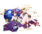 absurdres ankle_bow ankle_ribbon ass barefoot black_eyes black_hair bow breasts bridal_gauntlets cup fate/grand_order fate_(series) full_body gourd headpiece highres horns knees_up lying on_back oni oni_horns petals pointy_ears ribbon sakazuki shuten_douji_(fate) small_breasts thick_eyebrows toes white_background whitekuma
