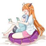 2girls ahoge amane_kanata bangs barefoot blonde_hair blunt_bangs closed_eyes dragon_girl dragon_horns dragon_tail from_side highres hololive horns hosimaru indian_style kiryu_coco long_hair multiple_girls nintendo_switch open_mouth playing_games silver_hair sitting sitting_on_lap sitting_on_person smile tail very_long_hair violet_eyes