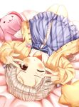 1girl ;o absurdres arms_up bed_sheet blue_dress blush collarbone commentary_request diagonal_stripes dress forehead frilled_dress frills grey_hair highres hisakawa_nagi idolmaster idolmaster_cinderella_girls jacket long_hair long_sleeves lying on_back one_eye_closed open_clothes open_jacket parted_lips pinching_sleeves simple_background sleeves_past_wrists solo star_pillow striped striped_dress stuffed_animal stuffed_bunny stuffed_toy v_over_eye very_long_hair white_background yata_(yatao_zzz) yellow_jacket
