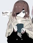 1girl black_jacket brown_hair buttons closed_mouth cup double-breasted ebanoniwa eyepatch green_eyes highres holding holding_cup jacket long_hair long_sleeves looking_at_viewer one_eye_covered original shawl simple_background solo white_background