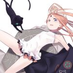 1girl abigail_williams_(fate) abigail_williams_(swimsuit_foreigner)_(fate) bangs bare_shoulders black_bow black_cat black_jacket blonde_hair blue_eyes bow braid braided_bun breasts cat daisi_gi double_bun dress_swimsuit fate/grand_order fate_(series) forehead highres jacket keyhole long_hair mitre multiple_bows off_shoulder open_mouth orange_bow parted_bangs sidelocks small_breasts smile swimsuit thighs twintails very_long_hair white_headwear white_swimsuit
