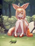 1girl :3 :o ahoge animal_ear_fluff animal_ears bag bangs beige_skirt bloomers braid brown_hair capelet creature dappled_sunlight egg_hair_ornament eyebrows_visible_through_hair food food-themed_hair_ornament forest fox_ears fox_girl fox_tail french_braid frills garter_straps grass hair_ornament hands_on_own_knees highres jacy knees_together_feet_apart long_sleeves looking_down multicolored_hair nature open_mouth orange_eyes original outdoors pancake pigeon-toed rock shirt sitting solo streaked_hair sunlight tail thigh-highs tree underwear white_hair white_shirt wing_collar