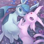 blue_bow bow closed_mouth commentary_request espeon from_above glaceon highres holding_hands kagure_(karaguren) no_humans pokemon pokemon_(creature) purple_bow sparkle toes violet_eyes