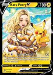 1girl 1other :d ;d arm_up beach blonde_hair bomber_jacket breasts brown_jacket clothing_request denim earrings grey_eyes hand_up jacket jeans jewelry katy_perry lighthouse mature_female nishida_yuu one_eye_closed open_mouth outdoors pants pikachu pink_lips pokemon pokemon_(creature) pokemon_card pokemon_tcg sitting smile sparkle sun thick_eyebrows trading_card
