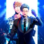 2boys black_hair black_neckwear brown_hair busujima_riou_mason camouflage camouflage_jacket formal frown glasses gloves hand_up holding holding_microphone hypnosis_mic hypnosis_mic:_rule_the_stage iruma_juuto jacket male_focus microphone multiple_boys necktie open_mouth red-framed_eyewear red_gloves standing suit vivienne9westwood walkie-talkie