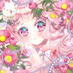 1girl bangs blunt_bangs blush bow bowtie collar eyebrows_visible_through_hair frilled_collar frills gem glint heart heart_hands long_hair lowres multicolored multicolored_eyes original pearl_(gemstone) pink_hair pink_theme pposong_fluffy solo sparkle sparkling_eyes upper_body wavy_hair white_bow white_neckwear