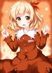 1girl aki_shizuha autumn_leaves bangs blonde_hair blush breasts buttons dress eyebrows_visible_through_hair hair_between_eyes hair_ornament hands_up highres leaf leaf_hair_ornament long_sleeves looking_to_the_side medium_breasts one-hour_drawing_challenge open_mouth orange_background orange_dress orange_sleeves ruu_(tksymkw) short_hair smile solo touhou yellow_eyes
