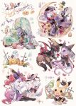 alternate_color braixen budew bush chingling clothed_pokemon coco7 espeon fence flower happy_halloween hat hat_removed hatted_pokemon headwear_removed heart litwick lunatone pikachu pocket_watch pokemon pumpkin red_flower shiny_pokemon sitting sylveon symbol-only_commentary tombstone torterra umbreon veil watch white_background witch_hat