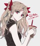 1girl blonde_hair bubble_tea closed_mouth cup disposable_cup dot_nose earrings ebanoniwa ereshkigal_(fate) fate/grand_order fate_(series) from_side holding holding_cup jewelry long_hair looking_at_viewer looking_to_the_side red_eyes simple_background solo twintails upper_body white_background