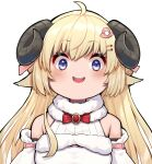 1girl :d absurdres ahoge bare_shoulders blonde_hair blush bow bowtie breasts curled_horns hair_ornament hairclip highres hololive horns large_breasts looking_at_viewer mikan_(chipstar182) open_mouth portrait red_bow red_neckwear sheep_horns shirt simple_background smile solo teeth tsunomaki_watame upper_teeth violet_eyes white_background white_shirt wide-eyed