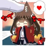 1boy 1girl ^_^ amagi-chan_(azur_lane) animal_ears azur_lane bangs bell black_legwear blunt_bangs blush brown_hair closed_eyes commander_(azur_lane) commentary_request covering_mouth desk eyebrows_visible_through_hair eyeshadow fox_ears fox_girl fox_tail full_body gloves hair_between_eyes hair_ornament headpat heart kyuubi long_hair long_sleeves looking_at_viewer makeup minigirl multiple_tails off-shoulder_kimono off_shoulder out_of_frame pantyhose paper rope shimenawa sidelocks signature simple_background solo spoken_heart standing tail taisa_(kari) translation_request twintails twitter_username white_gloves wide_sleeves