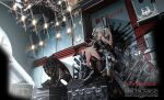 1girl 3d :< absurdres ahoge animal_ears black_footwear black_shirt breasts chandelier choker clip_(weapon) commentary cyrillic ear_piercing english_commentary from_below full_body grey_eyes grey_hair gun hand_up highres hololive indoors keitel_von_birsk large_breasts lion lion_ears lion_girl lion_tail long_hair looking_at_viewer looking_down magazine_(weapon) navel piercing rifle russian_text shirt shishiro_botan shoes shorts sleeveless sleeveless_shirt sneakers solo statue stomach tail throne throne_room translation_request two_side_up virtual_youtuber weapon weapon_request
