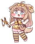 1girl :3 animal_ears bangs bell blue_eyes blush blush_stickers bow butter_(trickcal) chibi diyap dog_ears dog_girl dog_tail eyebrows_visible_through_hair fang full_body hairband light_brown_hair neck_bell official_art open_mouth shorts slingshot smile solo striped striped_legwear tachi-e tail thigh-highs transparent_background trickcal