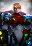 1girl absurdres arm_cannon armor bangs blonde_hair blue_eyes glowing highres long_hair looking_at_viewer metroid metroid_dread mole mole_under_mouth ponytail power_armor power_suit samus_aran science_fiction sidelocks simple_background solo upper_body weapon xuuikie_ashe