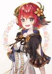 1girl :d breasts curled_horns dress feathers floral_print flower gradient_hair hair_between_eyes hair_flower hair_ornament highres horns looking_at_viewer multicolored_hair original redhead sho_(sumika) short_hair short_sleeves simple_background single_horn small_breasts smile solo upper_body white_dress